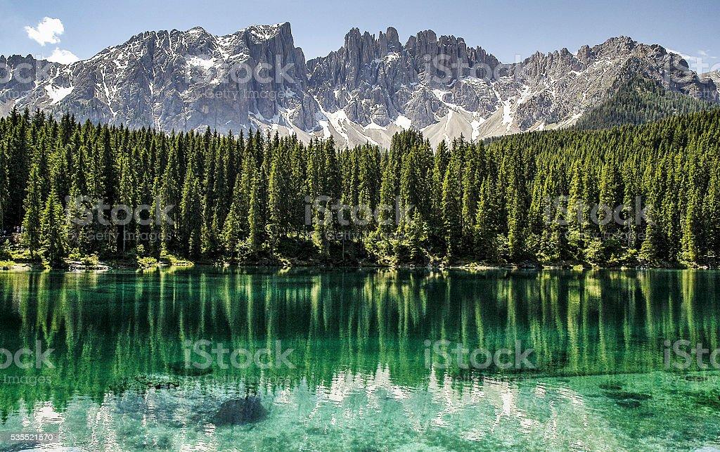 Carezza lake and Latemar dolomites stock photo