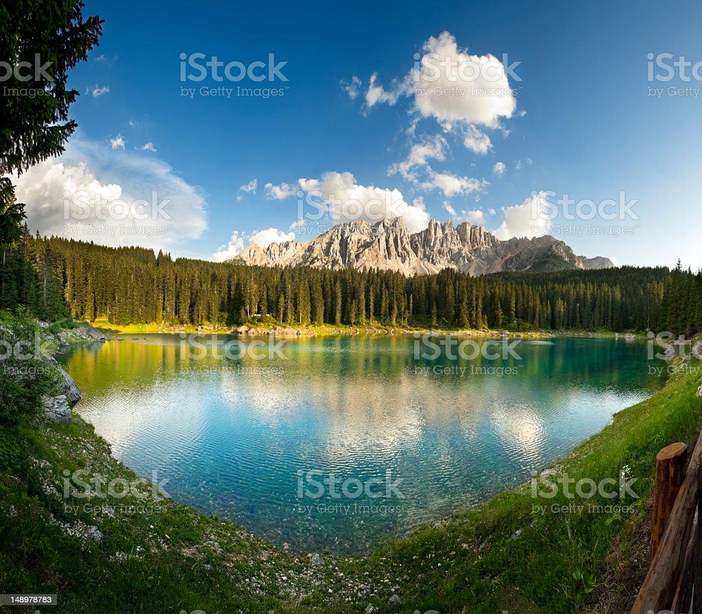 Carezza lake in the Dolomites (Karersee) stock photo
