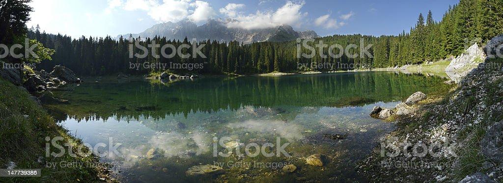 Carezza Lake (Karersee) in the Italian Dolomites royalty-free stock photo