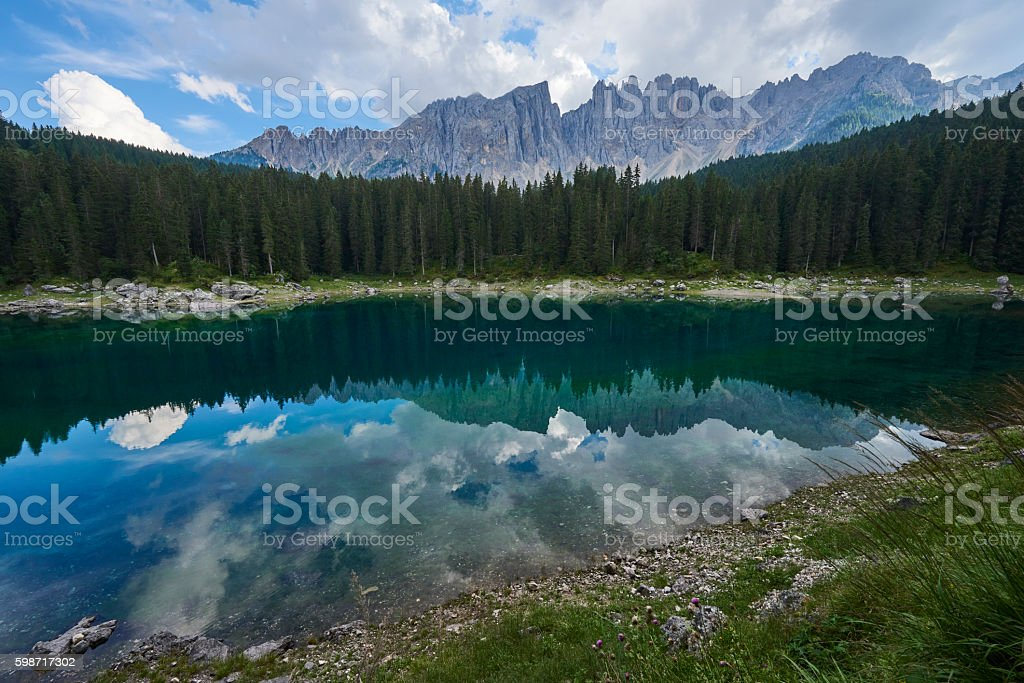 Carezza Lake stock photo
