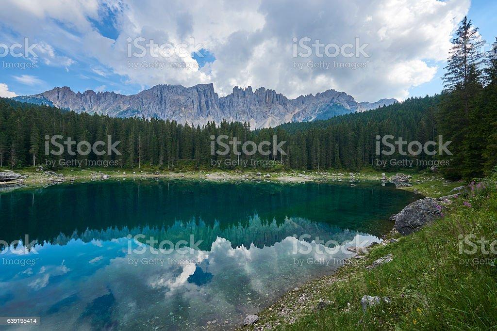 Carezza Lake stock photo