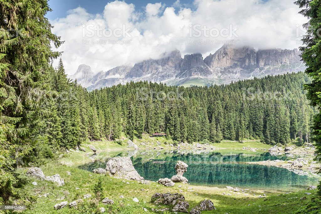 Carezza Lake  - Trentino Alto Adige - Italy stock photo