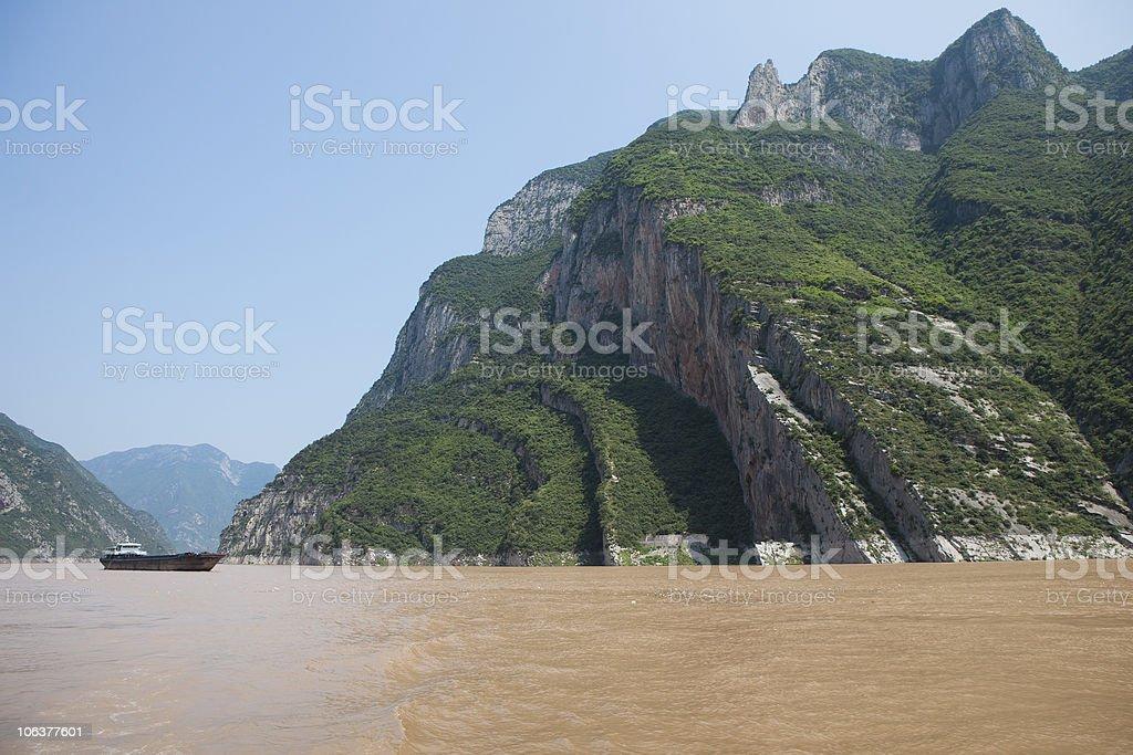 carge ship on the Yangtze river stock photo