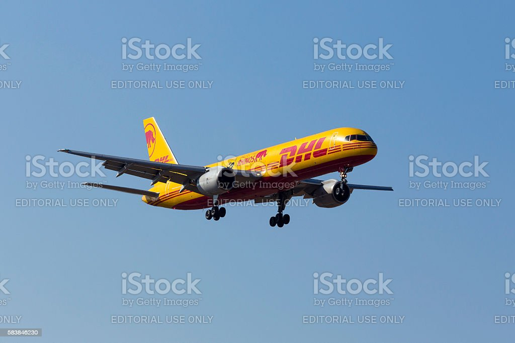 DHL cargo 757 with special markings stock photo