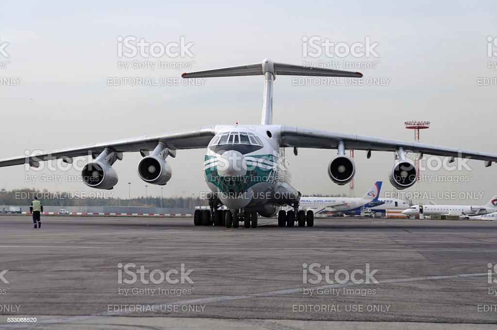 Cargo airplane IL-76TD Alrosa airlines stock photo