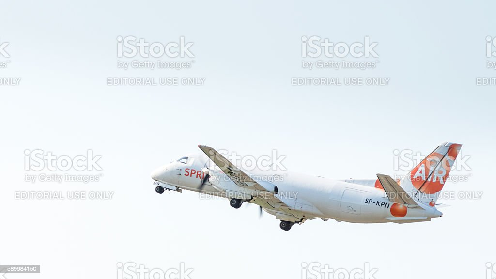 Cargo Airplane in the sky stock photo