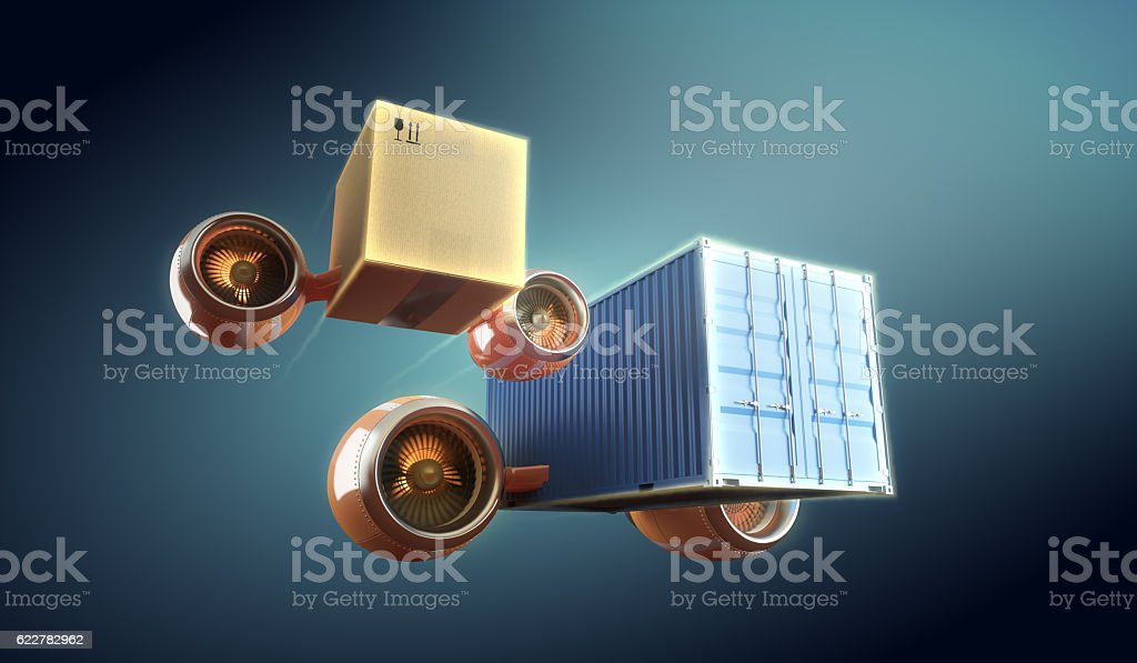 Cargo and container worldwide transportation and express local delivery. stock photo