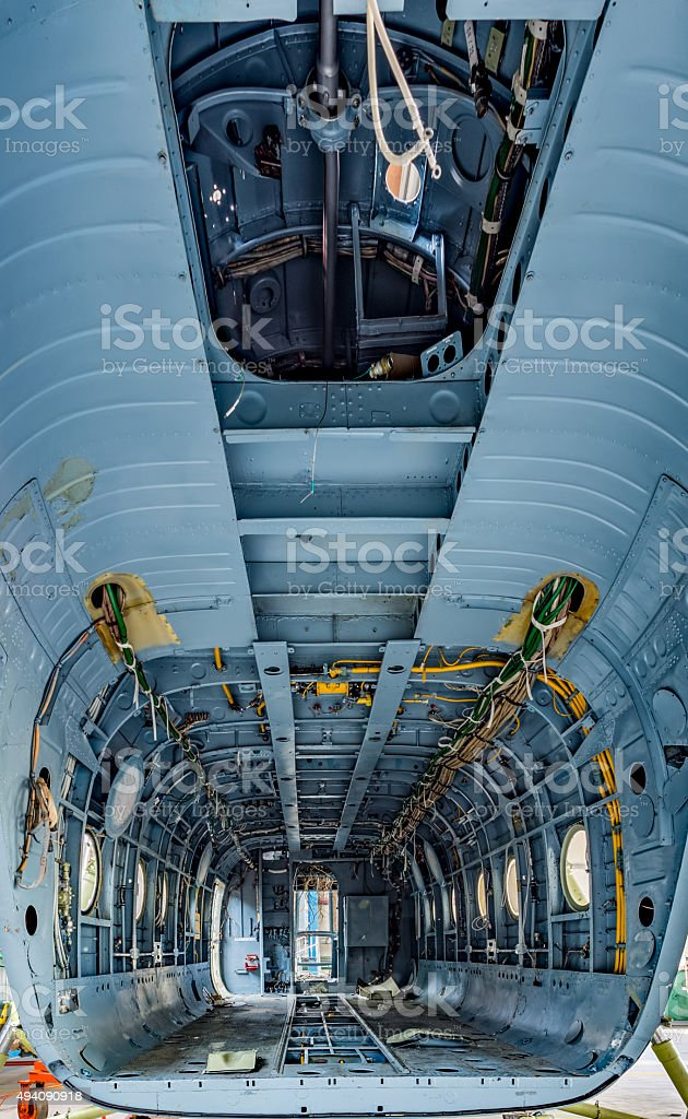 Cargo bay of the helicopter without details stock photo