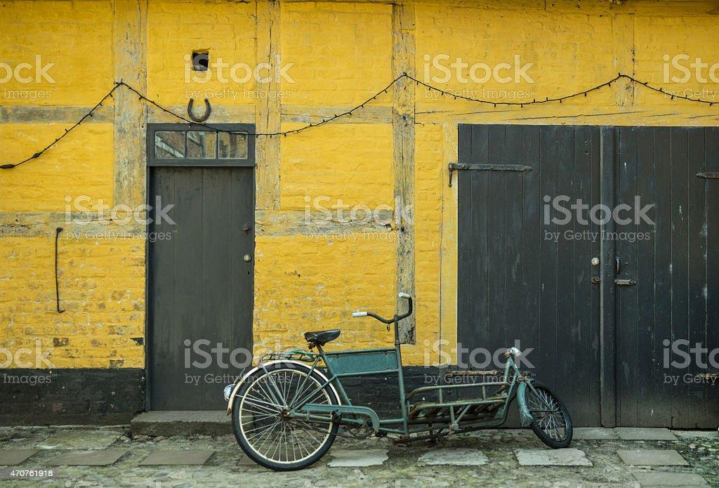 Cargo bike in the town of Ribe, Denmark stock photo
