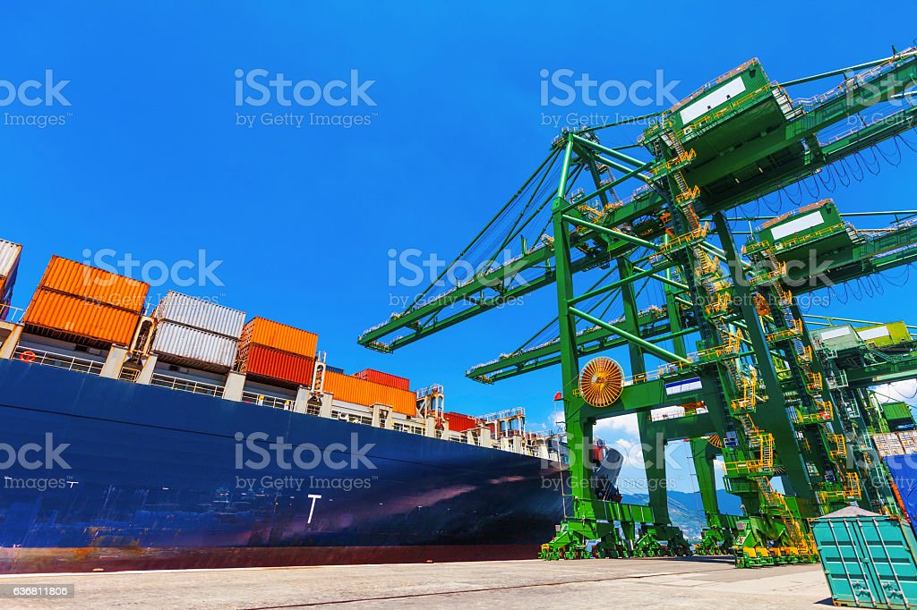 Cargo Boat anchored stock photo