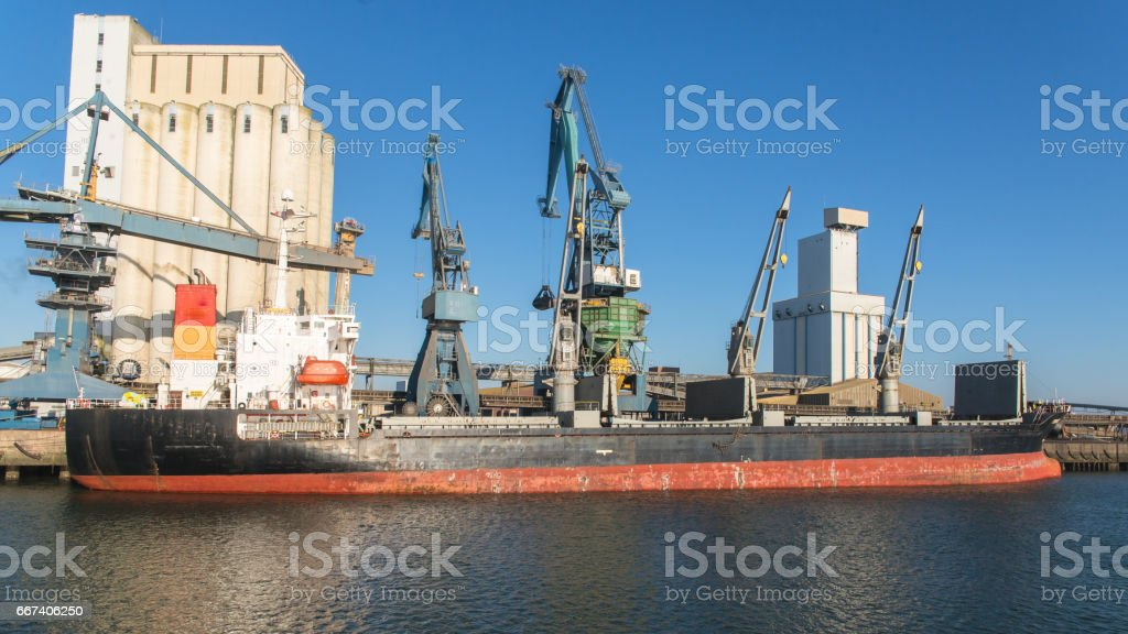 Cargo boat, trawler, in Lorient stock photo