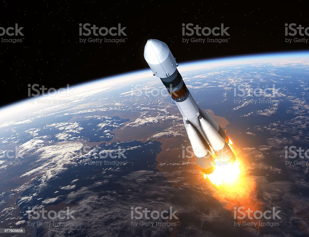 Cargo Carrier Rocket Launch stock photo