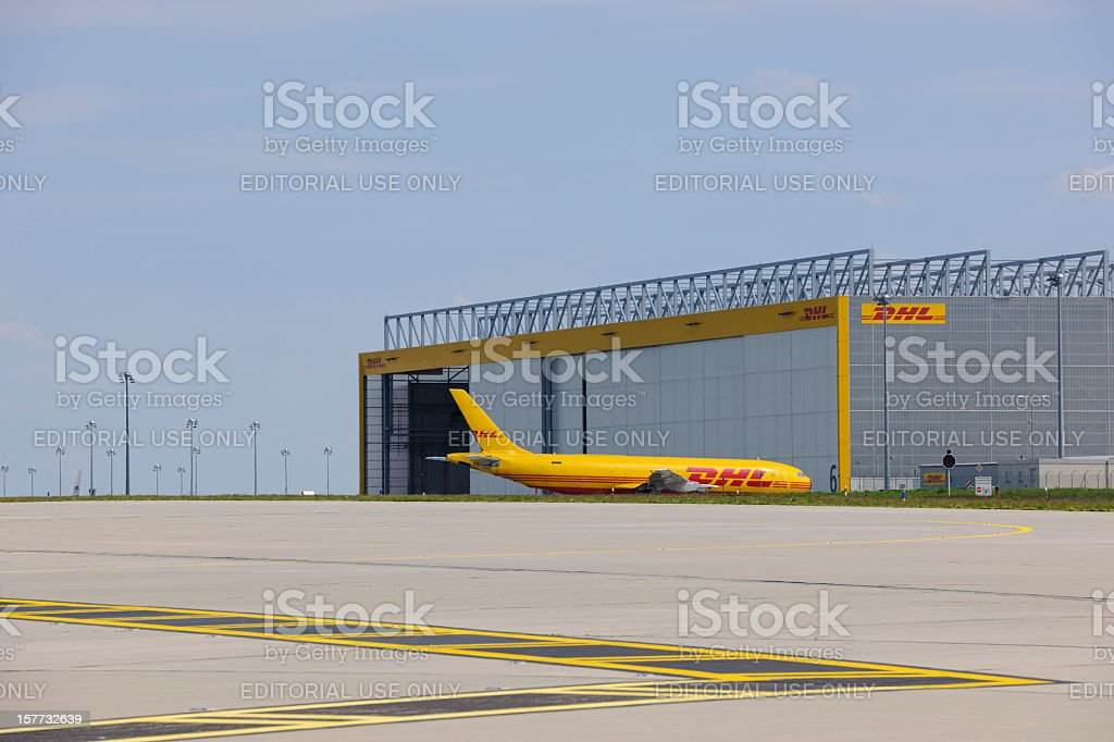 DHL Cargo Center at Leipzig/Halle Airport stock photo