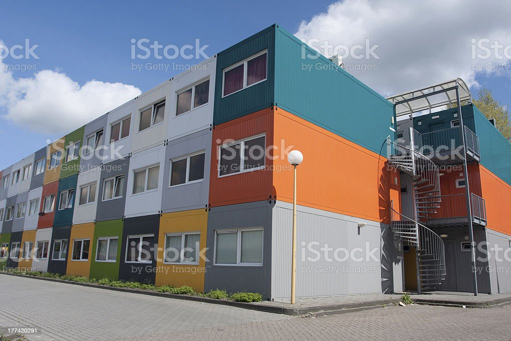 Cargo container houses stock photo