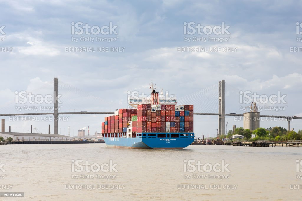 Cargo Container Ship Approaching Port of Savannah, GA stock photo