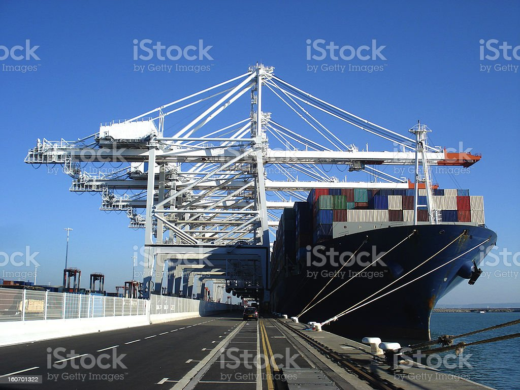 Cargo container ship at Le Havre dock stock photo