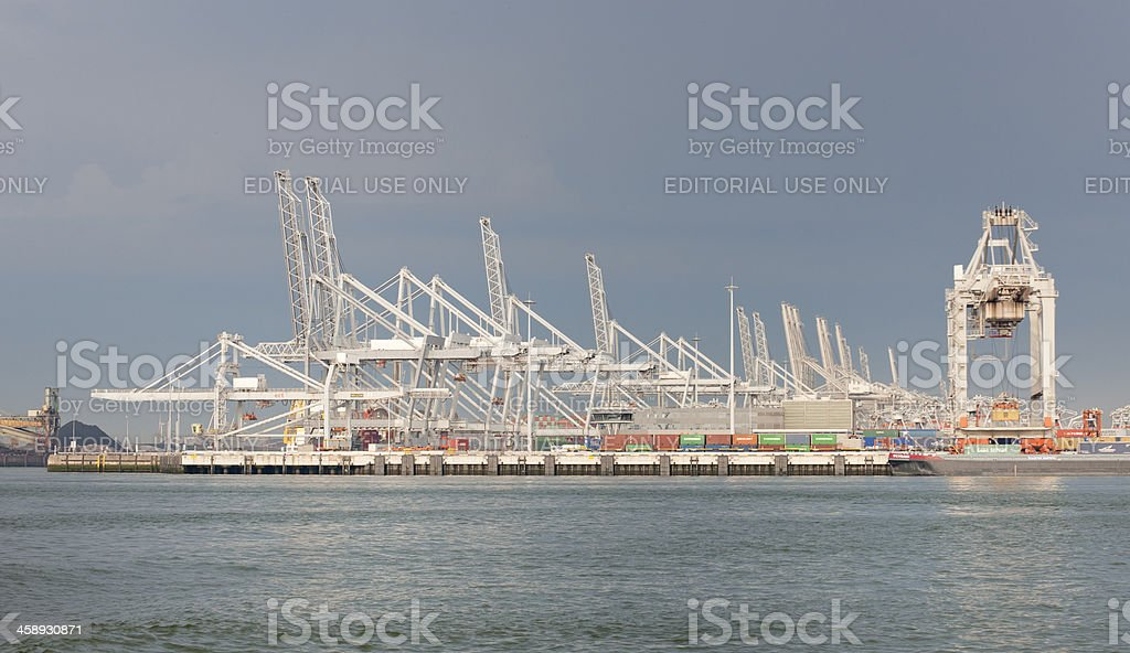 cargo container ship in commercial dock stock photo