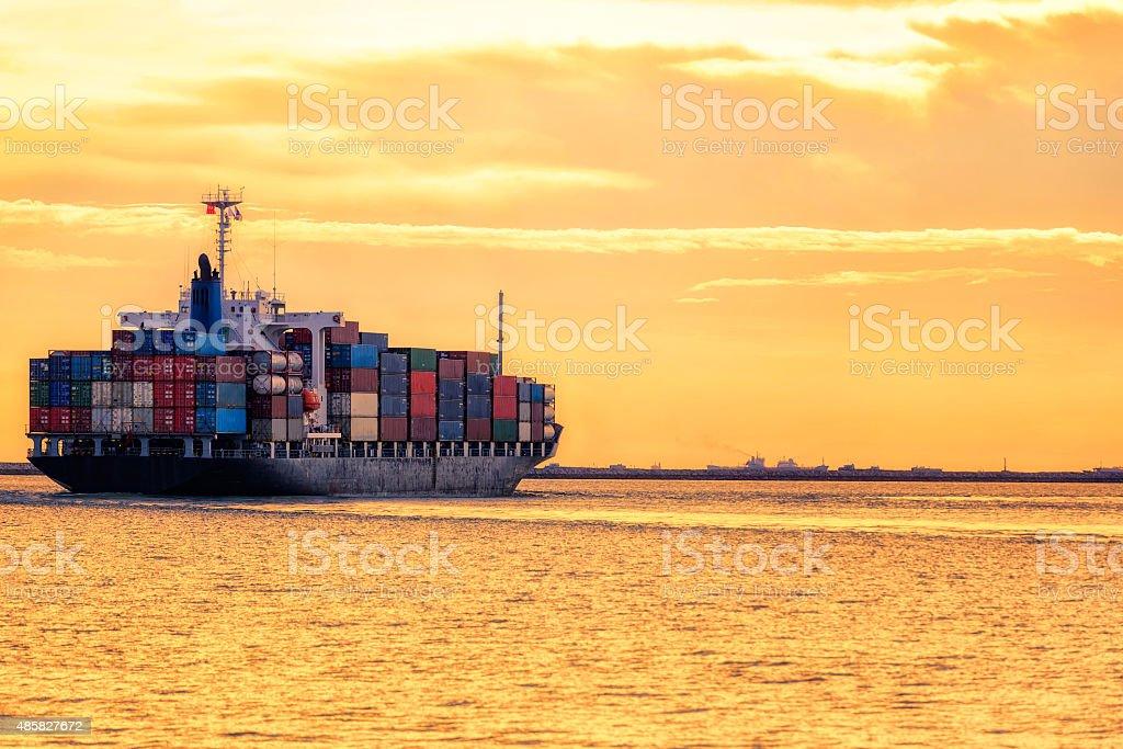 Cargo container ship stock photo