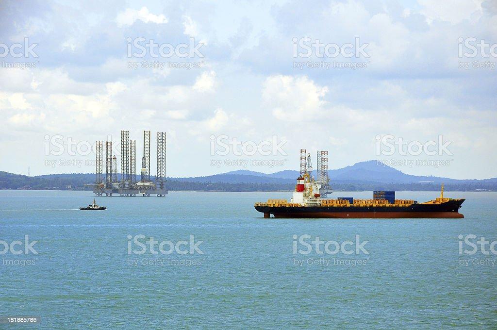 Cargo Container ship sailing stock photo