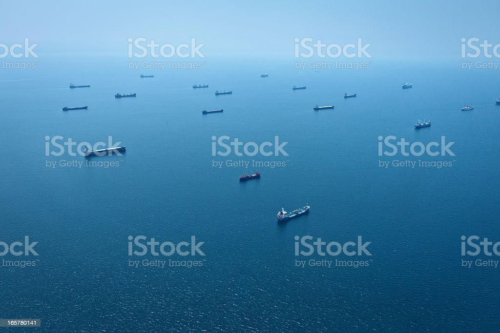 Cargo Container Ships Aerial View royalty-free stock photo