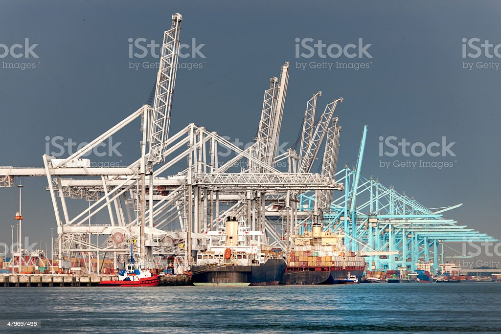 cargo container ships in commercial dock stock photo
