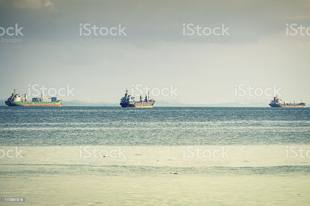 Cargo Container Ships on the Ocean royalty-free stock photo