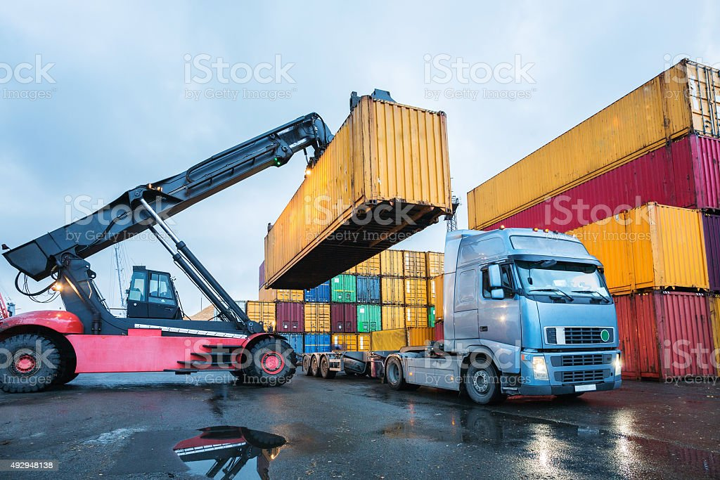 Cargo container transshipment stock photo
