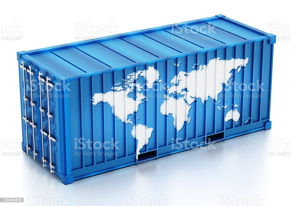 Cargo container with world map stock photo