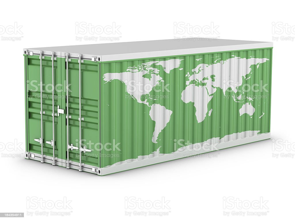 Cargo Container - World Map royalty-free stock photo