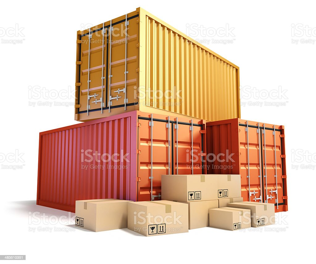 Cargo Containers and cardboard boxes. royalty-free stock photo