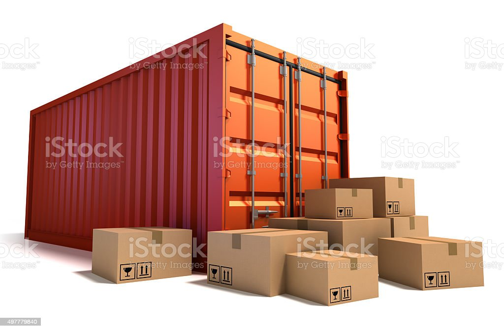 Cargo Containers and cardboard boxes. stock photo