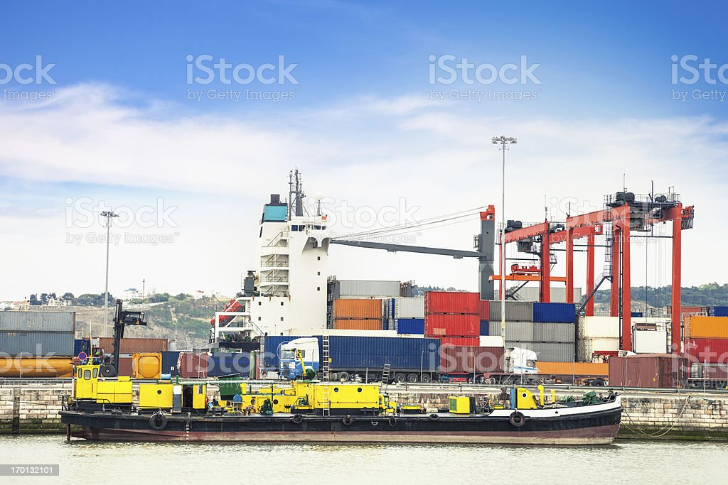 Cargo containers at commercial dock royalty-free stock photo