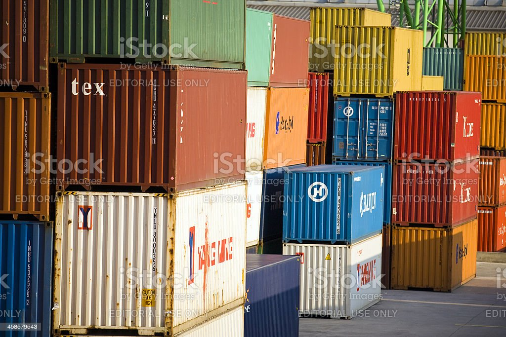 Cargo containers  at harbor Stuttgart, Baden Wurttemberg, Germany royalty-free stock photo