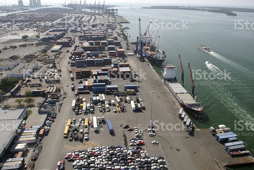 Cargo containers at Miami's port royalty-free stock photo