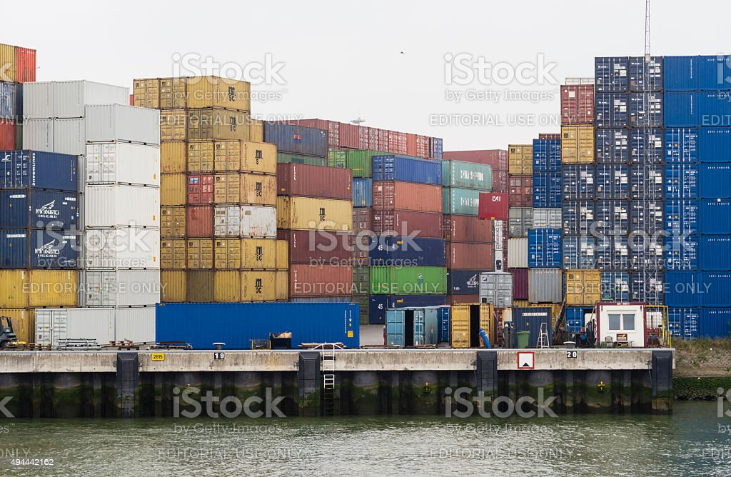Cargo containers at Rotterdam Europort container terminal stock photo