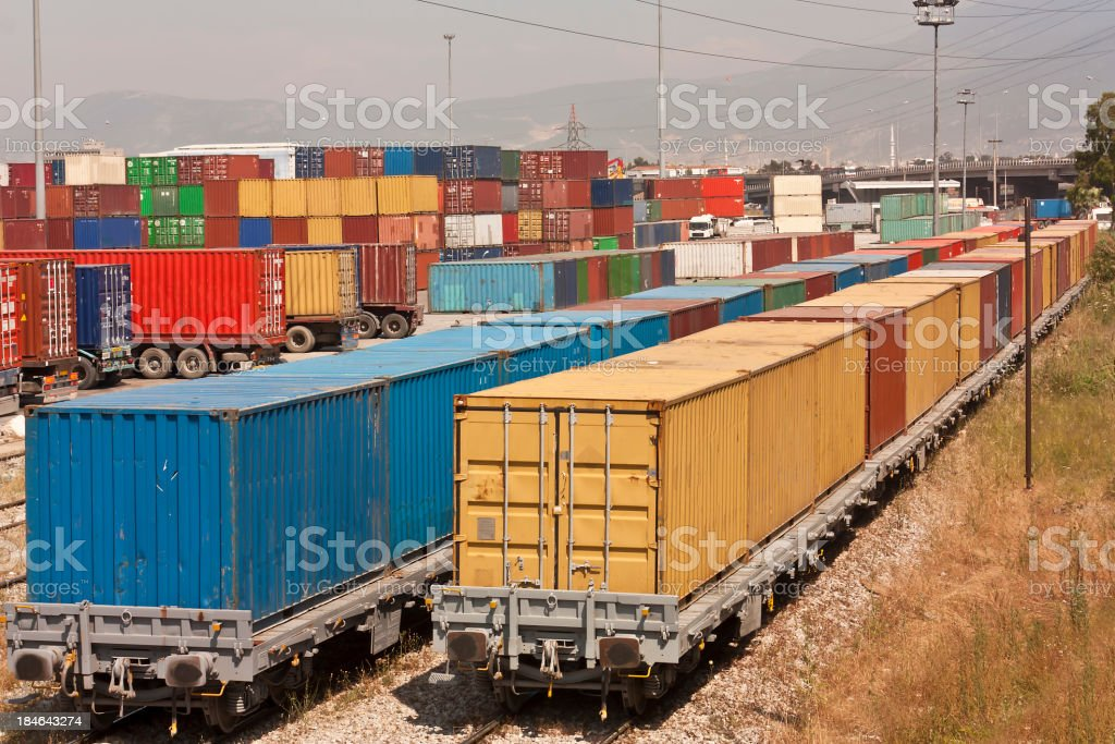 cargo containers, global cargo containers transportation business royalty-free stock photo