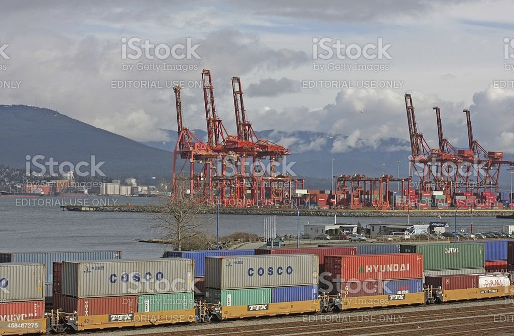 Cargo Containers, Port Metro Vancouver at Burrard Inlet, British Columbia royalty-free stock photo