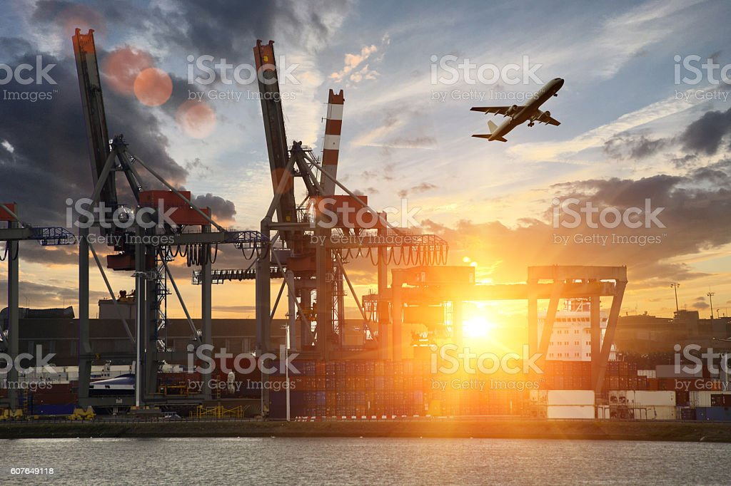 Cargo containers shipping transportation stock photo