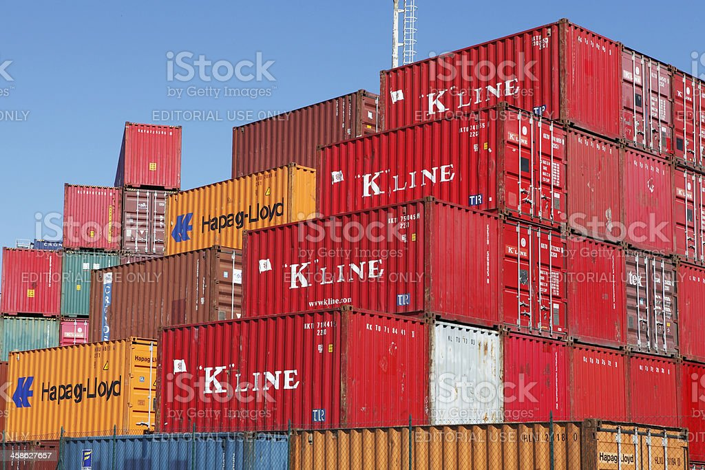 Cargo containers stored in transhipment station stock photo