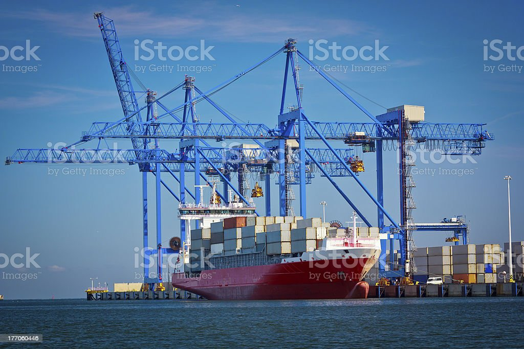 Cargo Containers terminal, Gdansk, Poland royalty-free stock photo