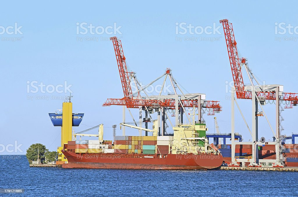 Cargo crane and ship royalty-free stock photo