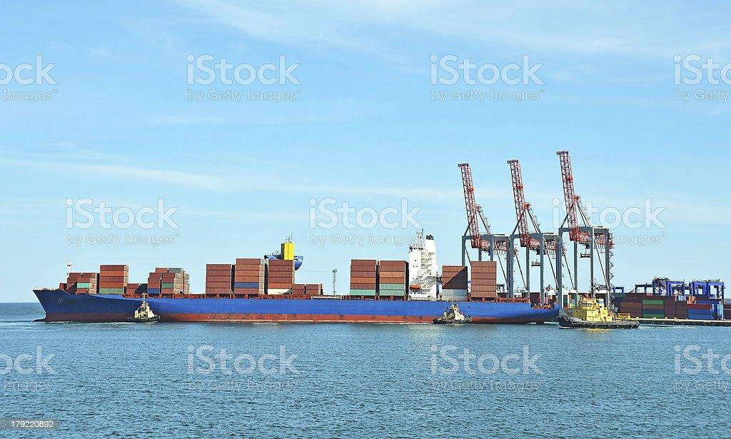Cargo crane and ship royalty-free stock photo