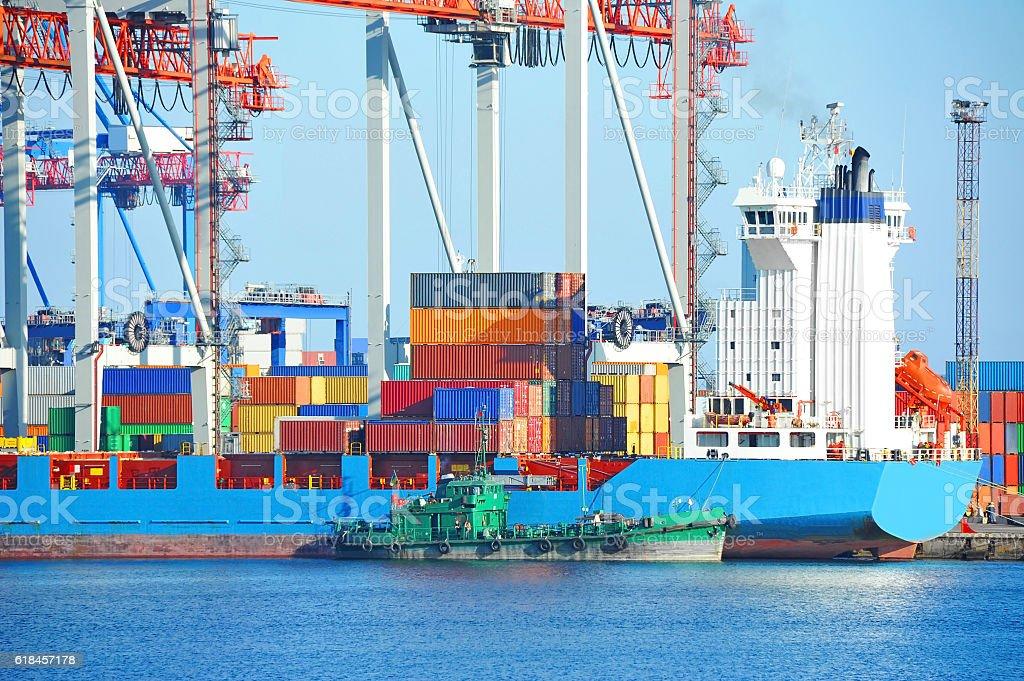 Cargo crane and ship stock photo