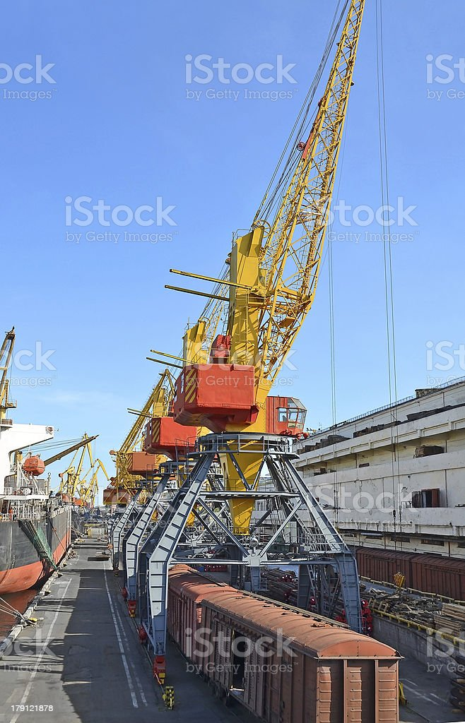 Cargo crane and train royalty-free stock photo