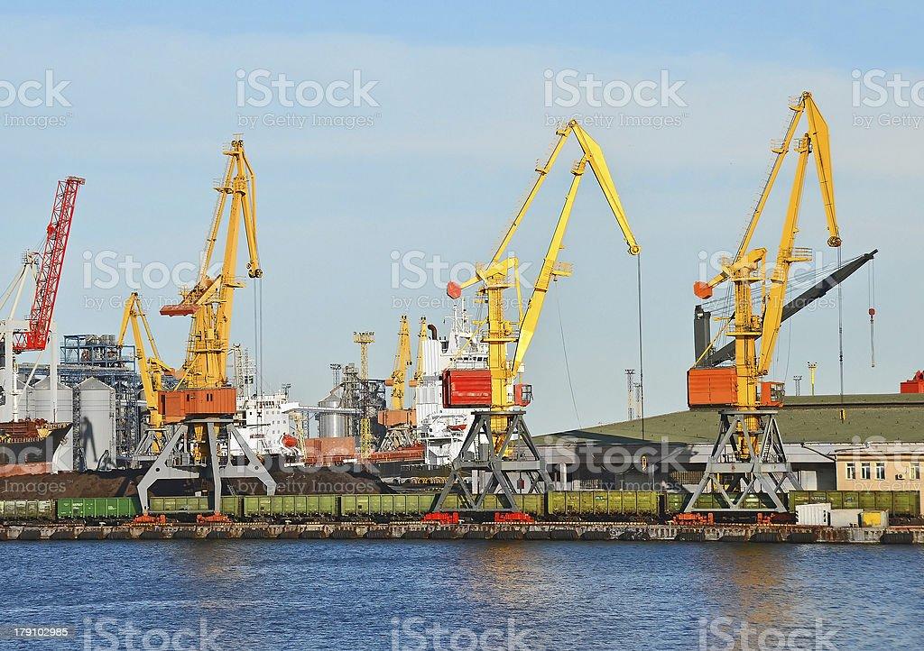 Cargo crane, train and coal royalty-free stock photo