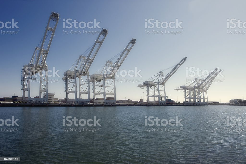 Cargo Cranes at the Port of Los Angeles royalty-free stock photo