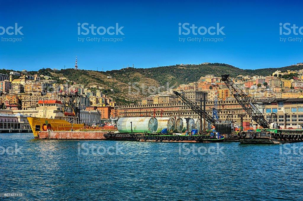 Cargo cranes in Genova sea industrial port stock photo