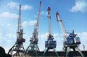 Cargo cranes in the port