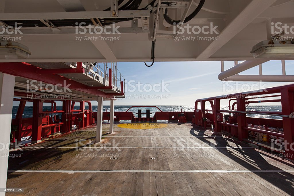 Cargo deck on the stand by ship stock photo