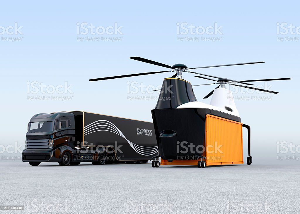 Cargo drone and hybrid truck on the ground stock photo